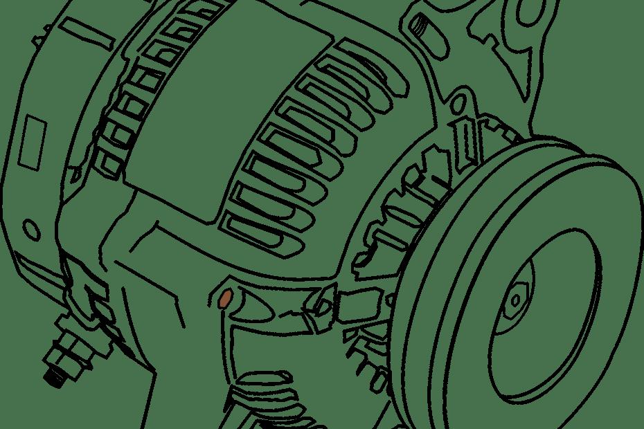 die schematische Zeichnung eines Elektromotors